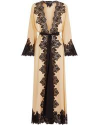Rosamosario - Longline Lace Trim Robe - Lyst