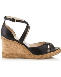 Jimmy Choo - Alanah 80 Leather Wedge Sandals - Lyst