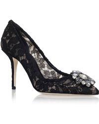 Dolce & Gabbana - Rosa Embellished Lace Pump - Lyst