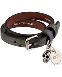 Alexander McQueen - Leather Double Wrap Bracelet - Lyst