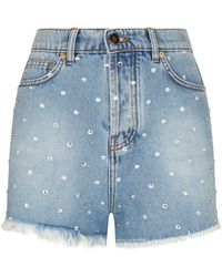 Alexandre Vauthier - Crystal Embellished Denim Shorts - Lyst