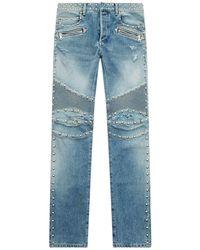 Balmain - Stud Embellished Biker Jeans - Lyst
