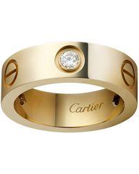 Cartier - Yellow Gold Love Diamond Ring - Lyst