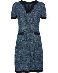 St. John - Knitted Multi-weave Shift Dress - Lyst