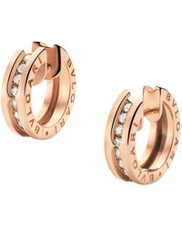 BVLGARI | Rose Gold & Diamond B.zero1 Earrings | Lyst