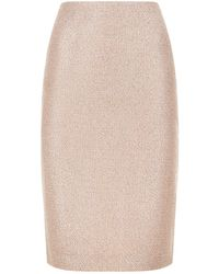 St. John - Frosted Metallic Knit Pencil Skirt - Lyst