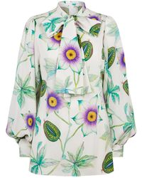 Andrew Gn - Floral Fruit Pussybow Blouse - Lyst