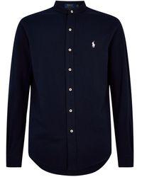 Polo Ralph Lauren Mandarin Collar Navy Mesh Shirt - Blue