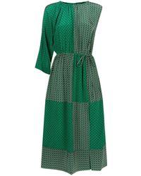 Robert Rodriguez - Duo Print Asymmetric Sleeve Silk Dress - Lyst