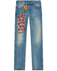 Gucci   Snake Embroidered Jeans, Navy, Uk 29   Lyst