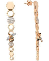 Bee Goddess - Rose Gold And Diamond Honeycomb Earrings - Lyst