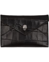 Alexander McQueen - Croc Embossed Leather Card Holder - Lyst