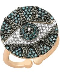 Bee Goddess   Black And Blue Diamond Eyelight Ring   Lyst
