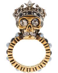 Alexander McQueen - Crystal Crowned Skull Ring - Lyst