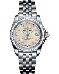 Breitling - Stainless Steel Galactic Sleek Diamond Bezel Quartz Watch 32mm - Lyst