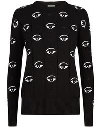 Lyst - KENZO Black and Gold Big Eye Embroidered Sweater in Black 04b29537c