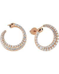 Bee Goddess - Rose Gold And Diamond Serpent Earrings - Lyst