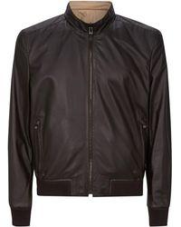 Corneliani - Leather Zipped Jacket - Lyst