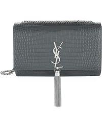 Saint Laurent - Medium Croc Kate Monogram Tassel Shoulder Bag - Lyst
