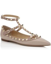 18182a689864 Lyst - Valentino Rockstud Ankle-strap Leather Ballet Flats