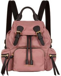 Burberry - The Small Rucksack In Technical Nylon And Leather - Lyst