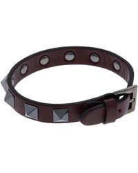 Valentino - Leather Studded Bracelet - Lyst