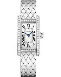 Cartier - Small White Gold Tank Amricaine Watch 19mm - Lyst
