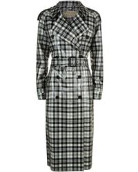 Burberry - Laminated Check Trench Coat - Lyst