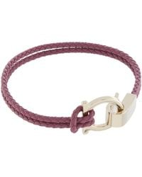 Ferragamo | Gancio Leather Braided Bracelet | Lyst