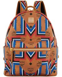 MCM | Stark Gunta Stripe Backpack, Brown, One Size | Lyst