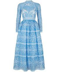 Costarellos - Appliqu Tulle Midi Dress - Lyst