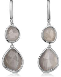 Monica Vinader - Siren Double Nugget Grey Agate Drop Earrings - Lyst