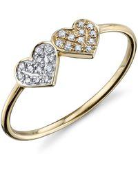 Sydney Evan - Thin Diamond Double Heart Ring - Lyst