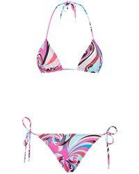 Emilio Pucci - Triangle Tie Side Bikini - Lyst