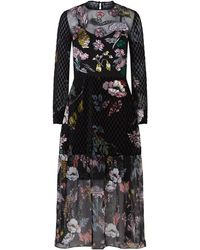 Markus Lupfer - Embroidered Velvet Sheer Midi Dress - Lyst