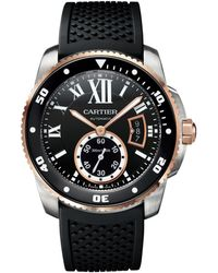 Cartier - Stainless Steel And Pink Gold Calibre De Diver Watch 42mm - Lyst