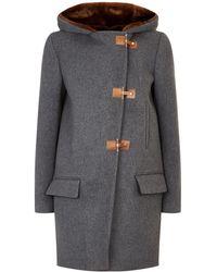 Sandro - Faux Fur Hood Wool Coat - Lyst