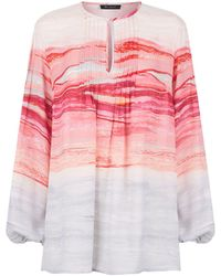 St. John - Brush Stroke Pleated Silk Blouse - Lyst