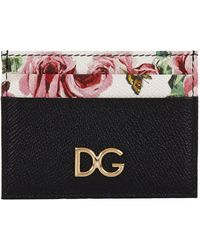 Dolce & Gabbana - Leather Floral Printed Card Holder - Lyst
