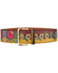 Etro - Leather Embroidery Print Belt - Lyst