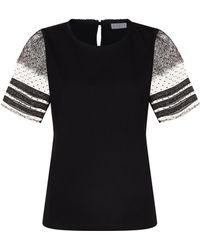 Claudie Pierlot - Lace Sleeve T-shirt - Lyst