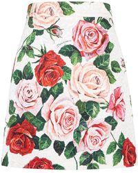 Dolce & Gabbana - Floral Jacquard Skirt - Lyst