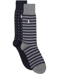 Ralph Lauren - Polka-dot And Stripe Socks (pack Of 2) - Lyst