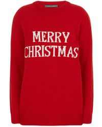 Alberta Ferretti - Oversized Merry Christmas Sweater - Lyst