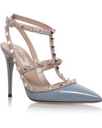 Valentino Light Grey Rockstud T Bar Shoes Lyst