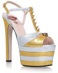 Gucci - Angel Embellished Peep Toe Platform Heels - Lyst
