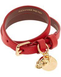 Alexander McQueen - Double Wrap Leather Skull Bracelet - Lyst