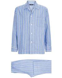 Harrods - Brushed Cotton Striped Pyjama Set - Lyst