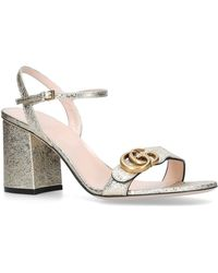 89f196dd21b Lyst - Gucci Gg Marmont Leather Block Heels in White