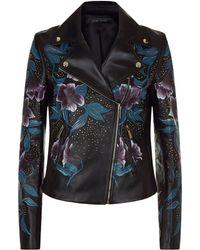 Elie Saab - Floral Embellished Leather Jacket - Lyst